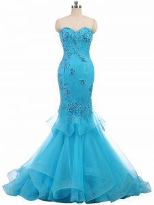 Aqua Blue Mermaid Appliques Military Ball Gowns Lace Up Tulle Sleeveless