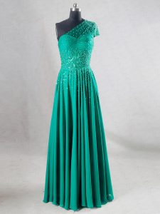 Stylish Turquoise A-line Sweetheart Sleeveless Chiffon Floor Length Backless Beading and Pleated Ball Gown Prom Dress