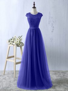 Blue Empire Lace Military Ball Gowns Zipper Tulle Short Sleeves Floor Length