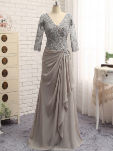Smart Grey Zipper V-neck Lace and Appliques Military Ball Dresses Chiffon Long Sleeves