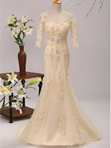 Fantastic Champagne Empire Tulle V-neck 3 4 Length Sleeve Beading and Lace and Appliques Lace Up Military Ball Gown Brush Train