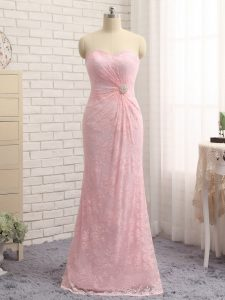 Stylish Floor Length Baby Pink Military Ball Gowns Sweetheart Sleeveless Zipper