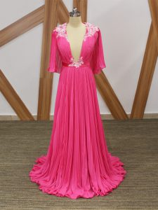 Hot Pink Empire Lace and Appliques and Pleated Military Ball Gown Backless Chiffon Half Sleeves