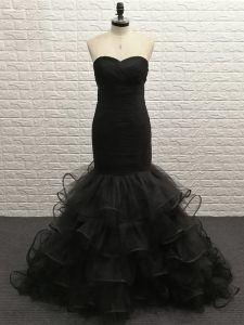 Modest Floor Length Black Military Ball Gown Tulle Sleeveless Beading
