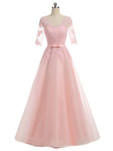 Artistic Pink A-line Scoop Short Sleeves Organza Floor Length Zipper Lace and Appliques Ball Gown Prom Dress