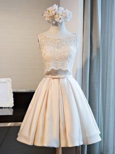 Lace Military Ball Gowns Champagne Lace Up Sleeveless Mini Length