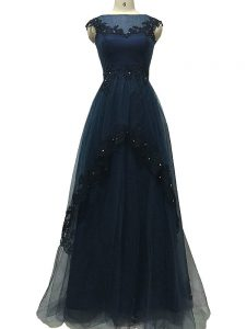 Navy Blue Sleeveless Floor Length Lace and Appliques Zipper Military Ball Dresses For Women