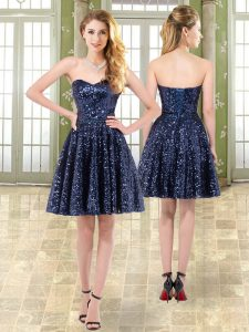 Eye-catching Tulle and Sequined Sweetheart Sleeveless Lace Up Beading Military Ball Gown in Navy Blue