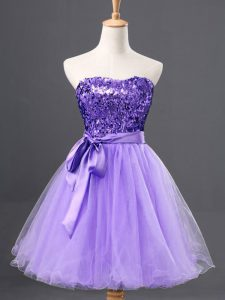 Enchanting Lavender Sweetheart Zipper Sequins Military Ball Gowns Sleeveless