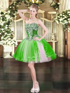 Trendy Lace Up Sweetheart Beading Military Ball Gowns Tulle Sleeveless