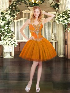 Orange Military Ball Gowns Prom and Party with Beading Sweetheart Sleeveless Lace Up