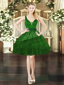 Dark Green Military Ball Gowns Prom and Party with Beading and Embroidery and Ruffled Layers V-neck Sleeveless Lace Up