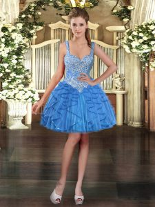 Ball Gowns Military Ball Dresses For Women Baby Blue Straps Tulle Sleeveless Mini Length Lace Up