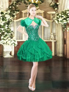 Chic Dark Green Sweetheart Neckline Beading and Ruffles Military Ball Gowns Sleeveless Lace Up