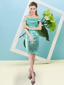 Flare Turquoise Column/Sheath Sequins Military Ball Dresses For Women Zipper Sequined Short Sleeves Mini Length