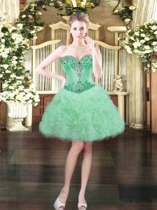 Chic Apple Green Organza Lace Up Sweetheart Sleeveless Mini Length Military Ball Gown Beading and Ruffles and Pick Ups