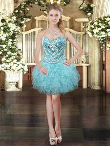 Sumptuous Ball Gowns Military Ball Dresses Aqua Blue Sweetheart Tulle Sleeveless Mini Length Lace Up