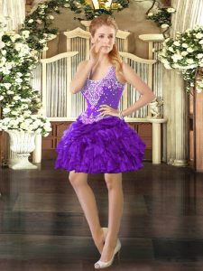Nice Purple Lace Up Military Ball Dresses For Women Beading and Ruffles and Pick Ups Sleeveless Mini Length
