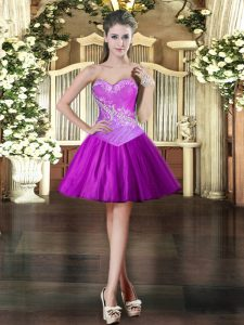 Stylish Purple Ball Gowns Tulle Sweetheart Sleeveless Beading Mini Length Lace Up Ball Gown Prom Dress