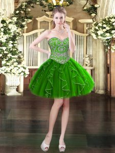 Sumptuous Dark Green Ball Gowns Organza Sweetheart Sleeveless Beading and Ruffles Mini Length Lace Up Military Ball Dresses