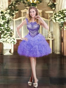 Designer Lavender Ball Gowns Beading and Ruffles and Pick Ups Military Ball Dresses For Women Zipper Organza Sleeveless Mini Length