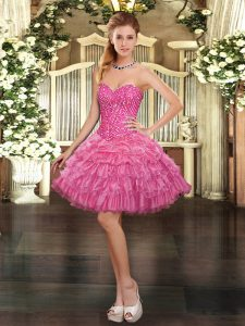 Classical Rose Pink Lace Up Sweetheart Beading and Ruffled Layers and Pick Ups Military Ball Dresses Organza Sleeveless