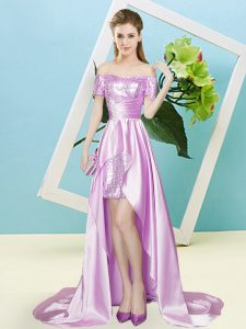New Style Lilac Short Sleeves Elastic Woven Satin and Sequined Zipper Military Ball Gown for Prom and Party