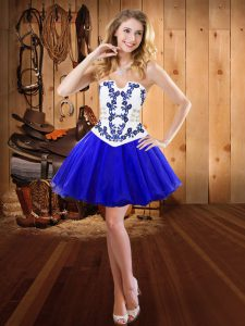 Royal Blue Lace Up Strapless Embroidery Military Ball Gowns Organza Sleeveless