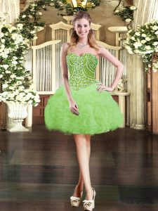 Fashionable Lace Up Military Ball Dresses Beading and Ruffles and Pick Ups Sleeveless Mini Length