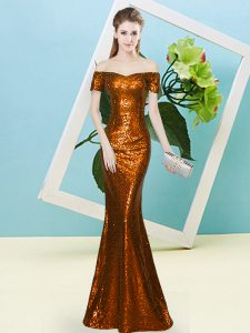 Short Sleeves Sequined Floor Length Zipper Ball Gown Prom Dress in Rust Red with Sequins