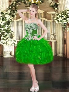 Free and Easy Green Ball Gown Prom Dress Prom and Party with Beading and Ruffles Sweetheart Sleeveless Lace Up