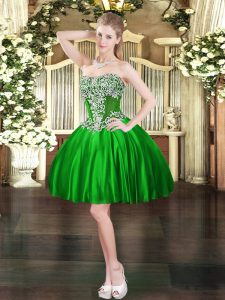 Vintage Mini Length Green Ball Gown Prom Dress Sweetheart Sleeveless Lace Up