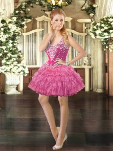 Rose Pink Straps Neckline Beading and Ruffled Layers and Pick Ups Military Ball Dresses For Women Sleeveless Lace Up