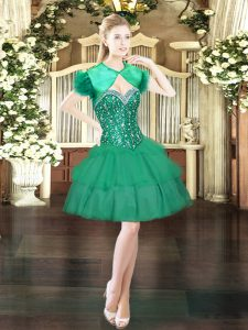 Dark Green Sweetheart Neckline Beading and Ruffled Layers Ball Gown Prom Dress Sleeveless Lace Up