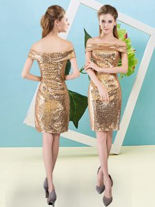 Clearance Gold Column/Sheath Sequins Military Ball Dresses Zipper Sequined Short Sleeves Mini Length