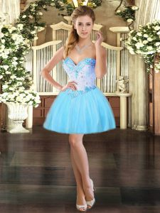Modern Aqua Blue Sweetheart Neckline Beading Ball Gown Prom Dress Sleeveless Lace Up