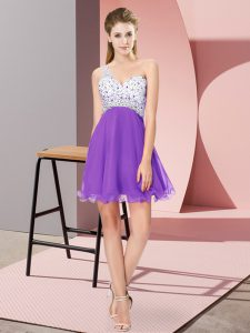 Hot Selling Empire Military Ball Dresses Eggplant Purple One Shoulder Chiffon Sleeveless Mini Length Criss Cross