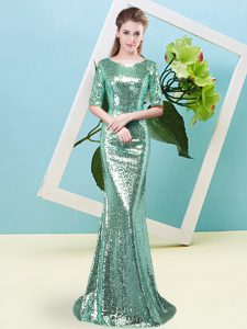 Half Sleeves Floor Length Sequins Zipper Military Ball Dresses with Turquoise