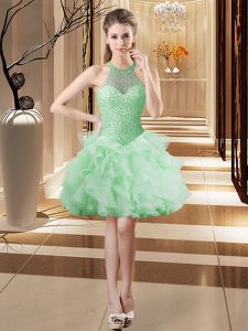 Dynamic Mini Length Lace Up Ball Gown Prom Dress Apple Green for Prom and Party with Beading and Ruffles