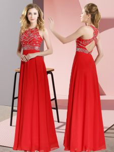 Clearance Chiffon Scoop Sleeveless Backless Beading Military Ball Dresses in Red