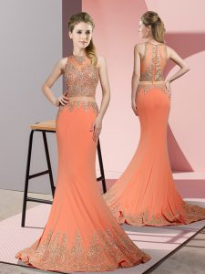 Orange Red Zipper High-neck Beading and Appliques Military Ball Dresses For Women Satin Sleeveless Sweep Train