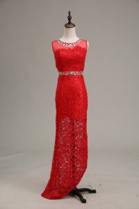 Red Column/Sheath Lace Scoop Sleeveless Beading Floor Length Zipper Military Ball Gown