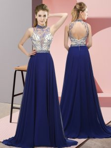 Discount Halter Top Sleeveless Chiffon Military Ball Dresses Beading Brush Train Backless