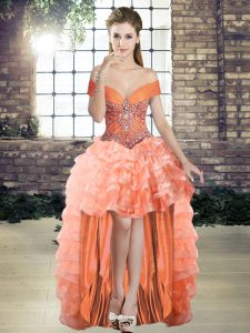 Customized Beading and Ruffled Layers Military Ball Gown Orange Lace Up Sleeveless High Low
