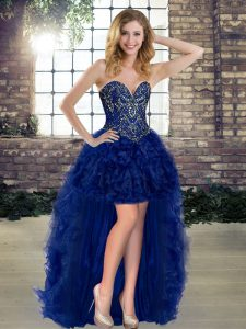 Sweetheart Sleeveless Organza Military Ball Gowns Beading and Ruffles Lace Up