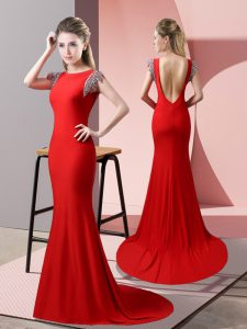 Artistic Backless Military Ball Dresses Red for Prom and Party with Beading Brush Train