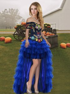 Beauteous Off The Shoulder Sleeveless Military Ball Dresses For Women High Low Embroidery and Ruffled Layers Royal Blue Organza