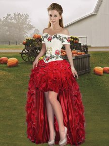 High Low Lace Up Military Ball Dresses For Women Red for Prom and Party with Embroidery and Ruffles