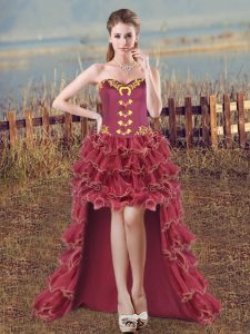 Burgundy Organza Lace Up Military Ball Dresses For Women Sleeveless High Low Embroidery and Ruffles