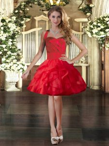 Nice Red Ball Gowns Ruffles Military Ball Gown Lace Up Tulle Sleeveless Mini Length